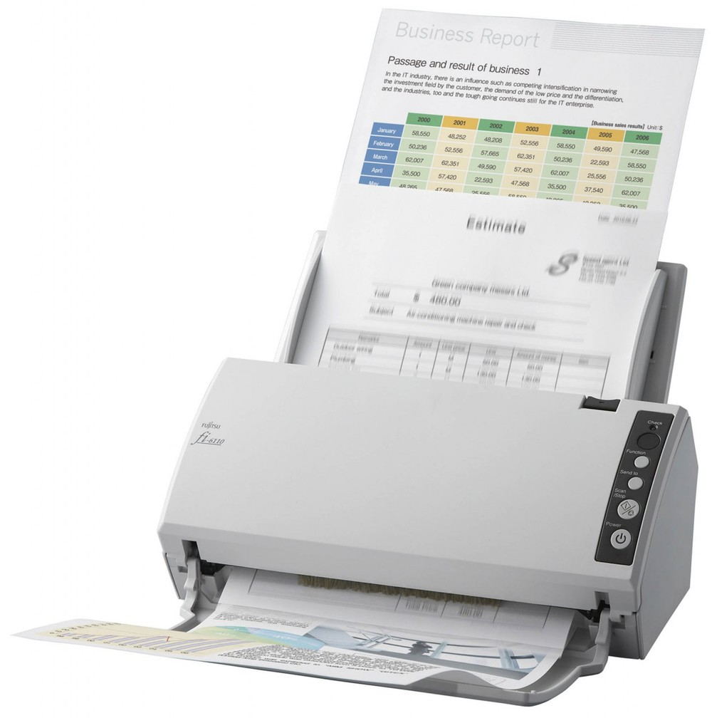 Fujitsu fi-6110 Up to 600 dpi 20 ppm / 40 ipm @ 300 dpi Dual CCD Sensors Up-to-50-Sheet Automatic Document Feeder PC USB 2.0 TWAIN / ISIS