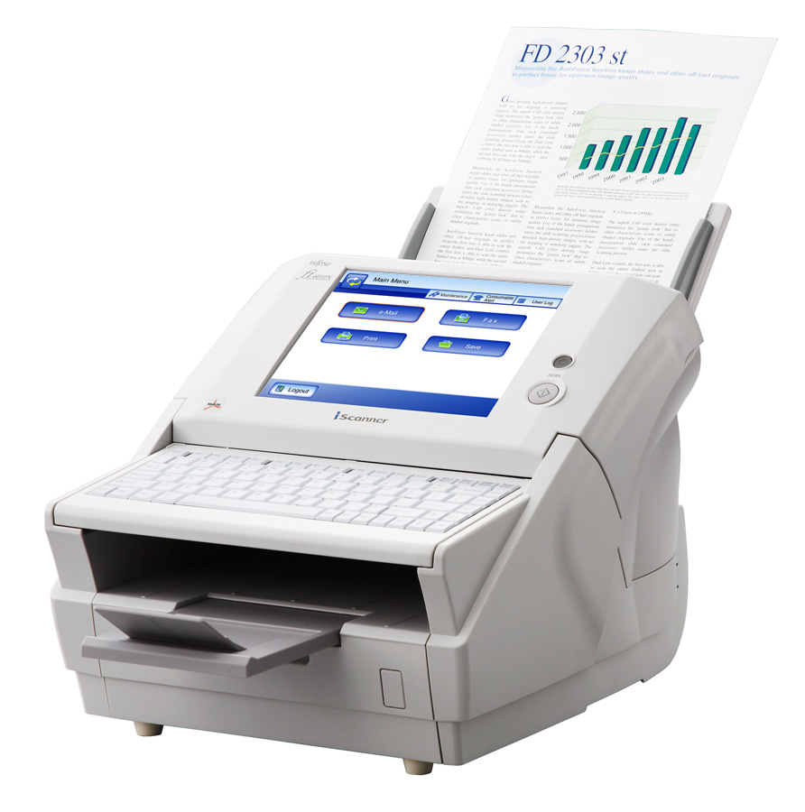 "Fujitsu fi-6010N iScanner Up to 600 dpi 25 ppm / 50 ipm @ 300 dpi Dual CCD Sensor Touchscreen 8.4"" 1024x768 Large US 101 Keyboard Up-to-50-Sheet Automatic Document Feeder PC / TCP-IP / DHCP RJ45 10/100 base T Ethernet"