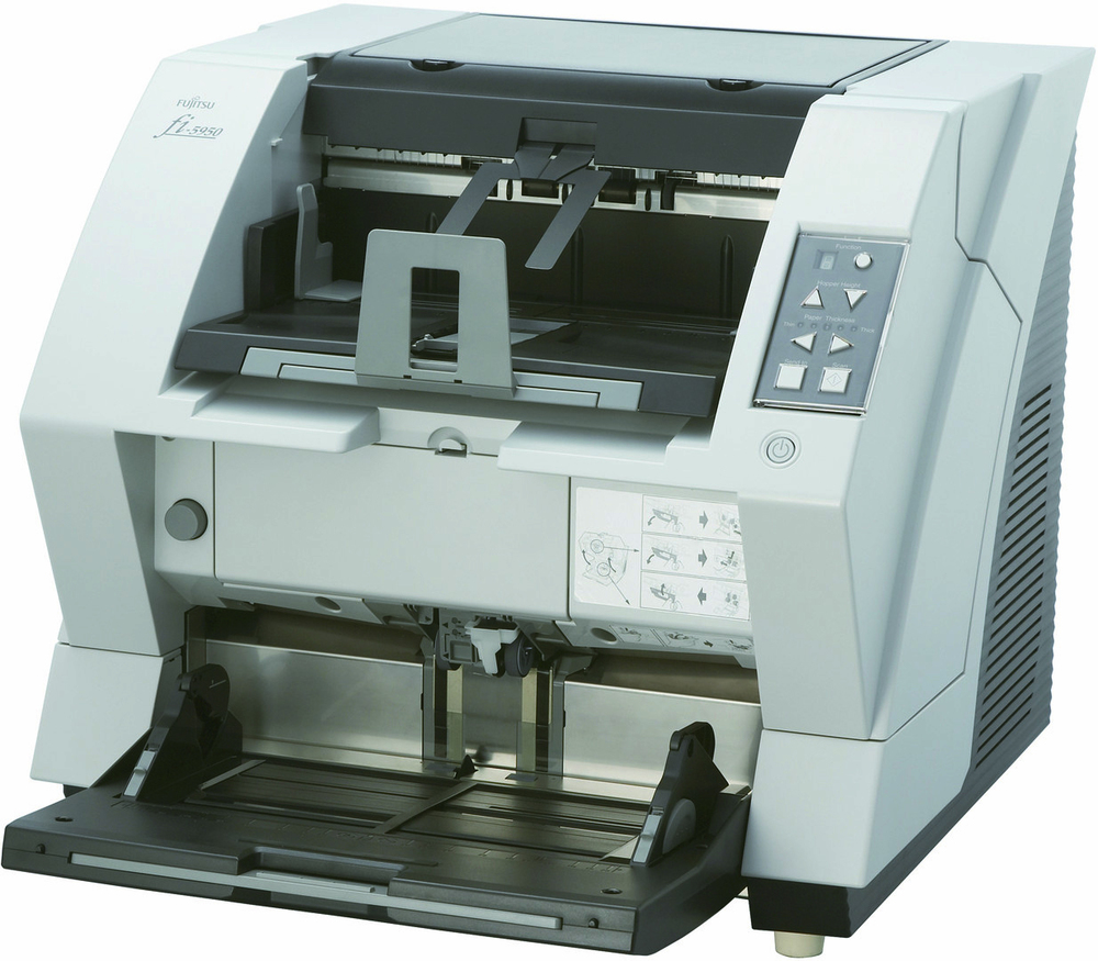 Fujitsu fi-5950 Up to 600 dpi 135 ppm / 270 ipm Landscape 105 ppm / 210 ipm Portrait @ 300 dpi Dual CCD Sensor Up-to-500-Sheet Automatic Document Feeder PC USB 2.0 / Ultra Wide SCSI TWAIN / ISIS