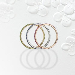 2012 Spectrum - Manufacturing Honors Classical Ricardo Basta Fine Jewelry & E. Eichberg Jewelers 18K yellow gold and platinum tri-color eternity set bands featuring Rubies (0.34 ctw), tsavorite Garnets (0.28 ctw) and Sapphires (0.21 ctw).
