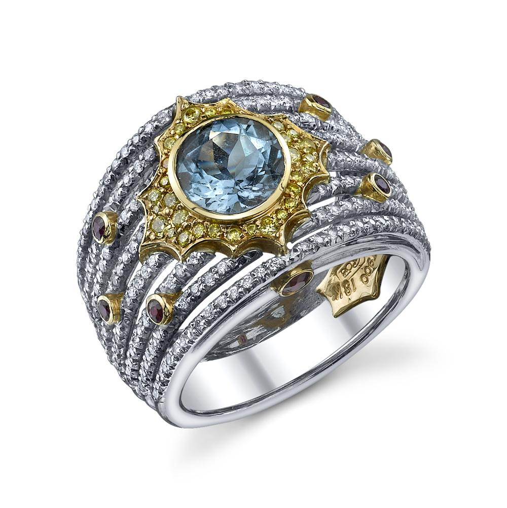 Diamond White Usa >> 8 Band Aquamarine Yellow Diamond And Ruby Ring Ricardo Basta