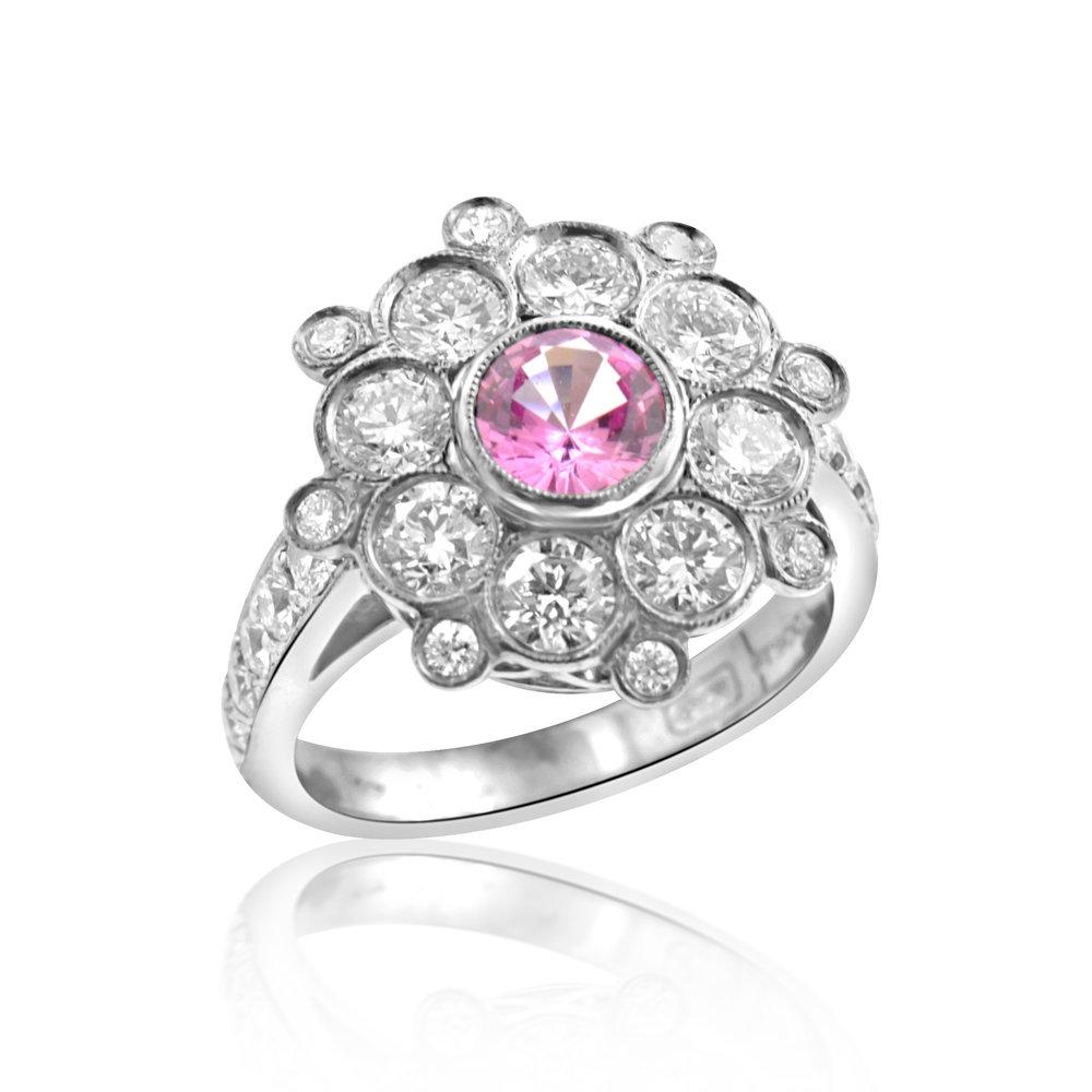 Pink Sapphire And Diamond Flower Ring Ricardo Basta Fine Jewelry