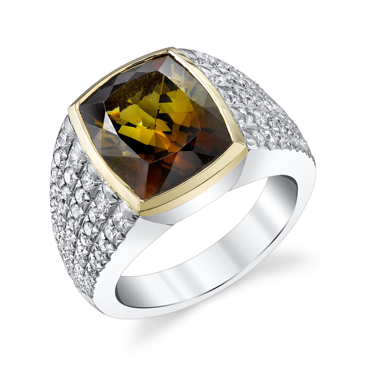 Green/Brown Cushion Cut Tourmaline Men's Ring