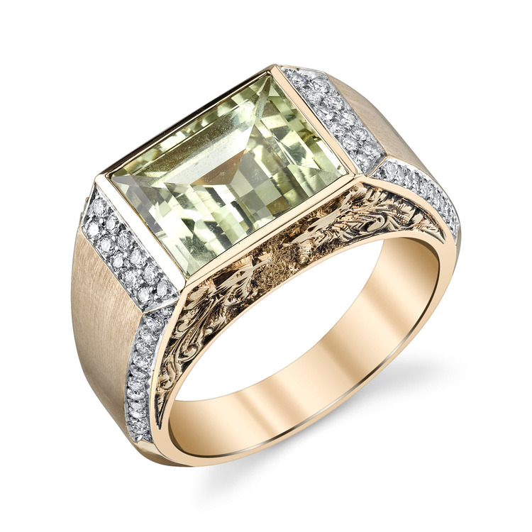 Baguette Chrysoberyl and Diamond Men's Ring