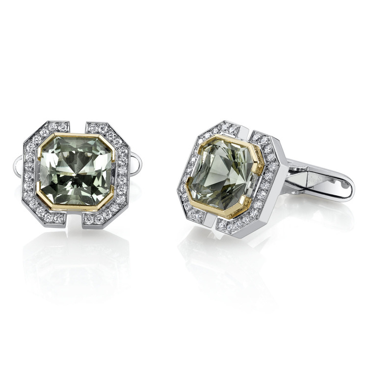 Green Amethyst and Diamond Cufflinks