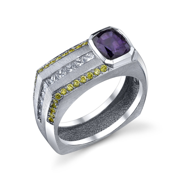 Color Change Sapphire and Yellow Diamond Men's Ring