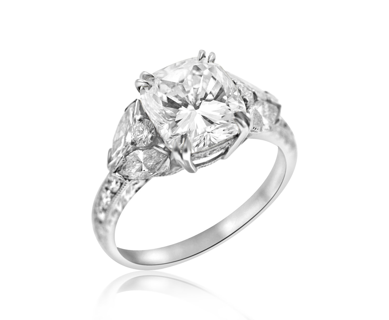 Cushion Cut And Marquise Diamond Engagement Ring