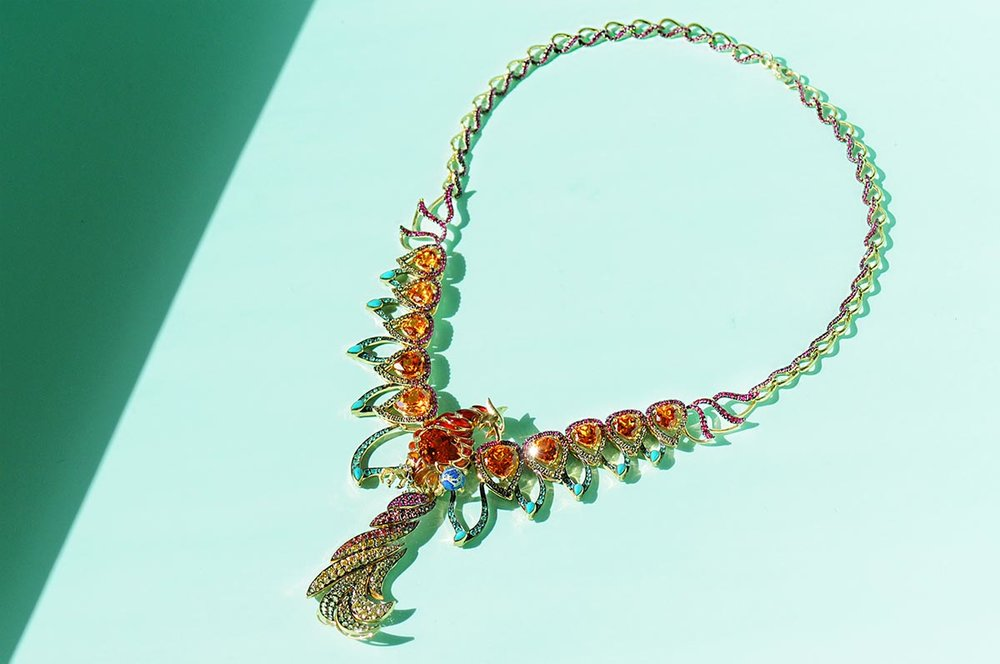 Phoenix Rising Mandarin Garnet necklace by Ricardo Basta Fine Jewelry
