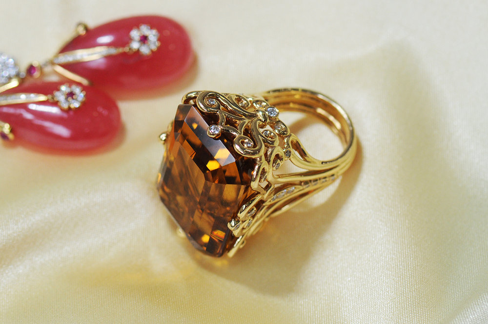 75 carat Citrine with .64 carats of Diamonds, set in 18k Yellow Gold, Handmade in USA,  shop
