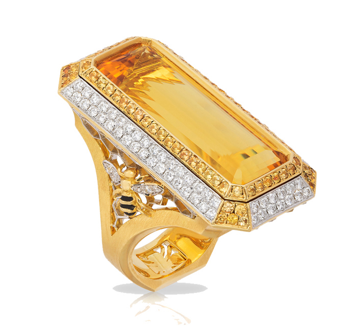 "2016 Spectrum - 1st Place Business/Day Wear    Ricardo Basta FIne Jewelry & Eichberg Jewelers   18k yellow gold and platinum ""Honey"" ring featuring a 13.58 ct Heliodor accented with Sapphires (.82 ctw) and Diamonds (.96 ctw)."