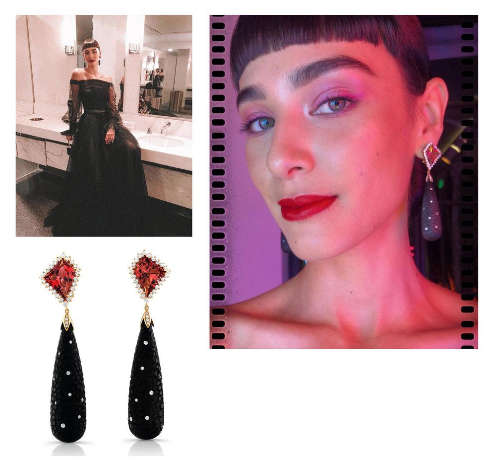 Margaux Brooke wearing Ricardo Bast Fine Jewelry earrings