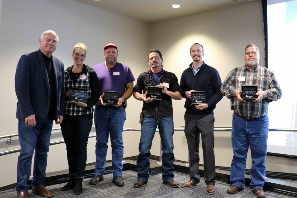 Over 15 Years of Service: Cris Callins, Bill Jones, Bill Foster, Weston DeHart, Dwain Schmidt