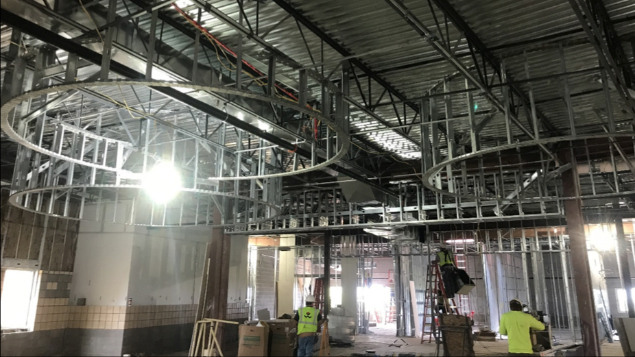 The CMSWillowbrook crew works on the second floor addition at Deer Creek Middle School.