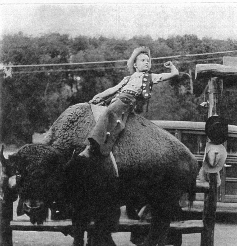 After the Strakes purchased Glen Eyrie in 1938, the two young Strake boys enjoyed western life in their new home. One of their summer activities including a makeshift-rodeo complete with buffalo rides.