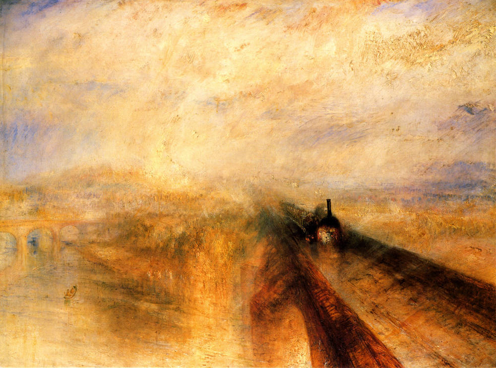 Rain, Steam and Speed — The Great Western Railway  (1844) by J. M. W. Turner. Do you spot the aqueduct?