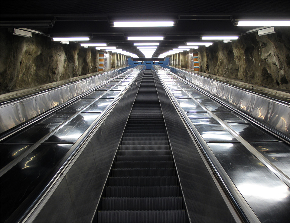"""Photo Credit:  Daniel Mott .  """" The escalators in Västra skogen are the longest ones in the Stockholm subway and maybe even in all of northern Europe. """""""