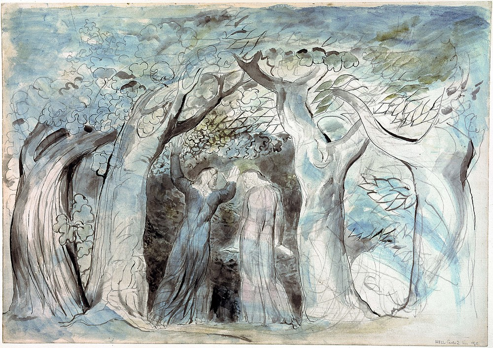 Dante and Virgil Penetrating the Forest  by William Blake (graphite ink and watercolor on paper, 1824–7). One of 102 illustrations Blake created for  The   Divine Comedy , this work now hangs at the  Tate .