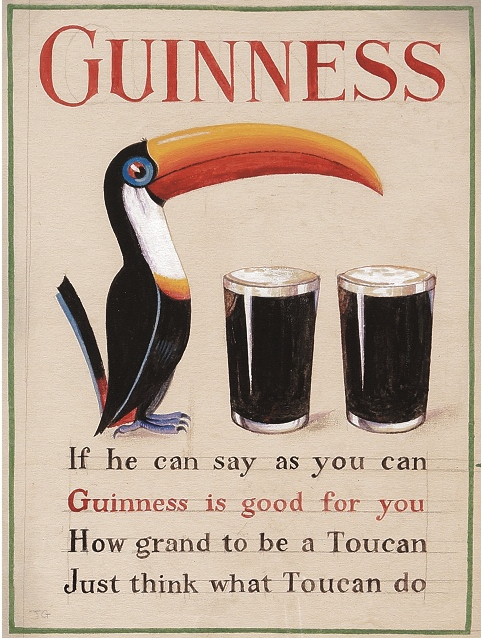 An ad created by artist John Gilroy and copywriter Dorothy L. Sayers, who was also a successful poet, mystery writer, and translator of  The Divine Comedy . Sayers is responsible for the famous Guinness toucan (Gilroy wanted a pelican initially). I imagine the poem for this ad, published in 1935 and relying on rhyming puns as it does, would not translate very well into any other language. (And if translating a 23-word advertisement is essentially futile, think how Herculean a task translating Dante must be.)
