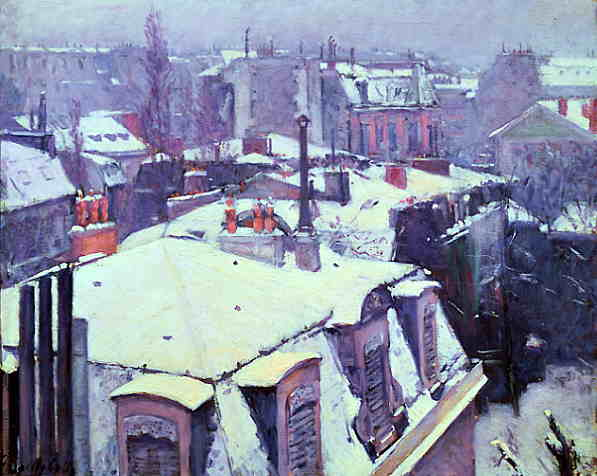 Rooftops in the Snow  (1878) by Gustave Caillebotte.