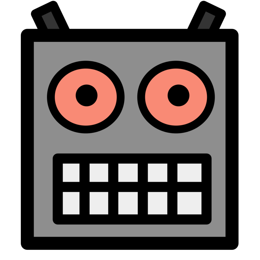 Robot Icon  (2006). Design by Wikipedia contributor  Biboq , who kindly donated this artwork to the public domain .