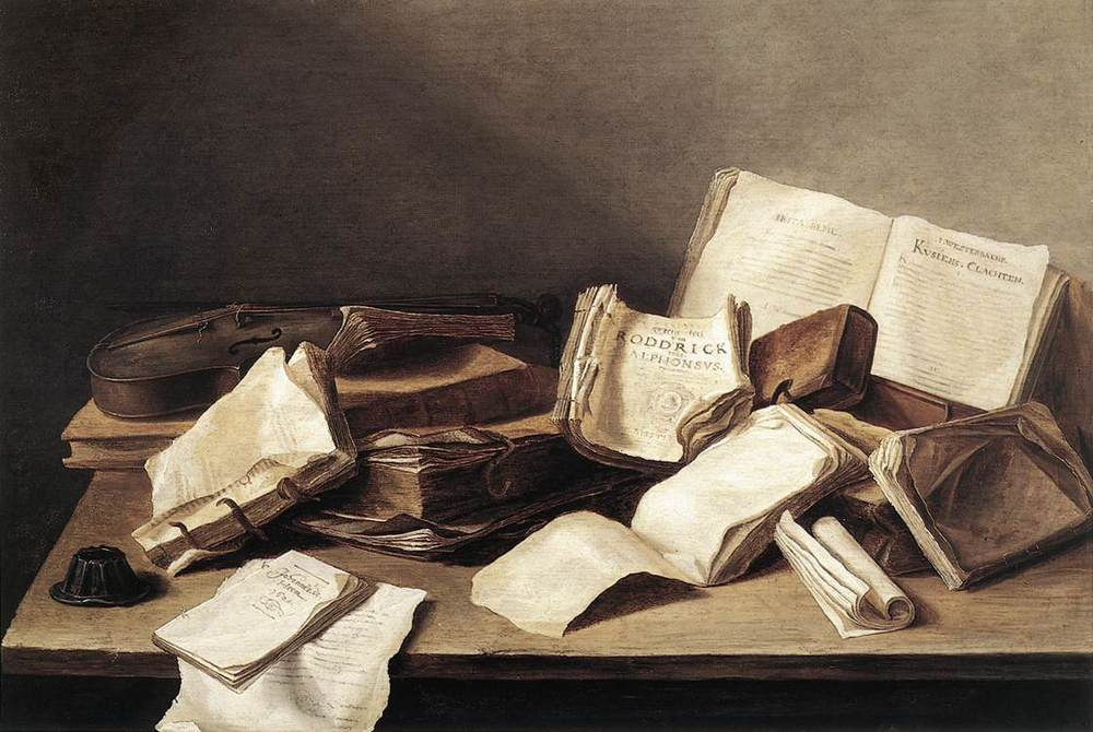 Still-Life of Books  byJan Davidsz.de Heem (1628). But where is the coffee?