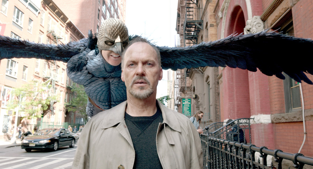 Michael Keaton stars as Riggan Thomson and Birdman in  Birdman or (The Unexpected Virtue of Ignorance)  (2014). Image property of Fox Searchlight.
