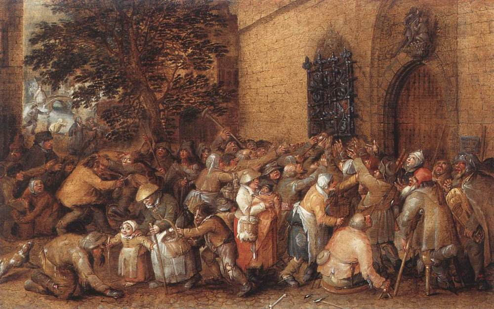 Some old-timey crowdsourcing.   Distribution of Loaves to the Poor  , by David Vinckboons (mid-1600s).