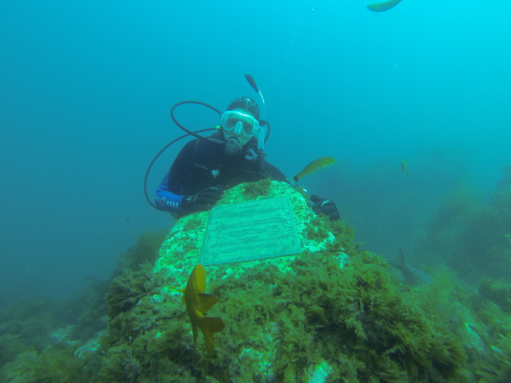 "The plaque, dedicated in October 1997 by members of the California diving community, reads:        0   0   1   1   Spooner   1   1   1   14.0                       Normal   0           false   false   false     EN-US   JA   X-NONE                                                                                                                                                                                                                                                                                                                                                                               /* Style Definitions */ table.MsoNormalTable 	{mso-style-name:""Table Normal""; 	mso-tstyle-rowband-size:0; 	mso-tstyle-colband-size:0; 	mso-style-noshow:yes; 	mso-style-priority:99; 	mso-style-parent:""""; 	mso-padding-alt:0in 5.4pt 0in 5.4pt; 	mso-para-margin:0in; 	mso-para-margin-bottom:.0001pt; 	mso-pagination:widow-orphan; 	font-size:12.0pt; 	font-family:Cambria; 	mso-ascii-font-family:Cambria; 	mso-ascii-theme-font:minor-latin; 	mso-hansi-font-family:Cambria; 	mso-hansi-theme-font:minor-latin;}       ""   IN MEMORY: CAPT. JACQUES YVES COUSTEAU, 1910–1997: A LEGEND THAT GAVE US A VISION AND THE KEY TO THE SILENT WORLD.  """