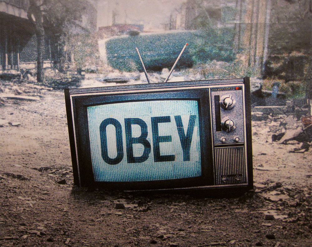 """Obey"" (2013),  an homage to the 1988 cult film   They Live   courtesy of Flickr user  Poster Boy ."