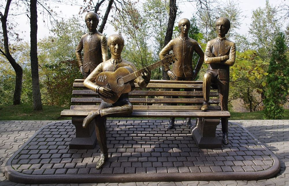 Oh, you know, just your typical statue of four lads from Liverpool in Almaty, Kazakhstan. Image credit:  Wikimedia Commons .
