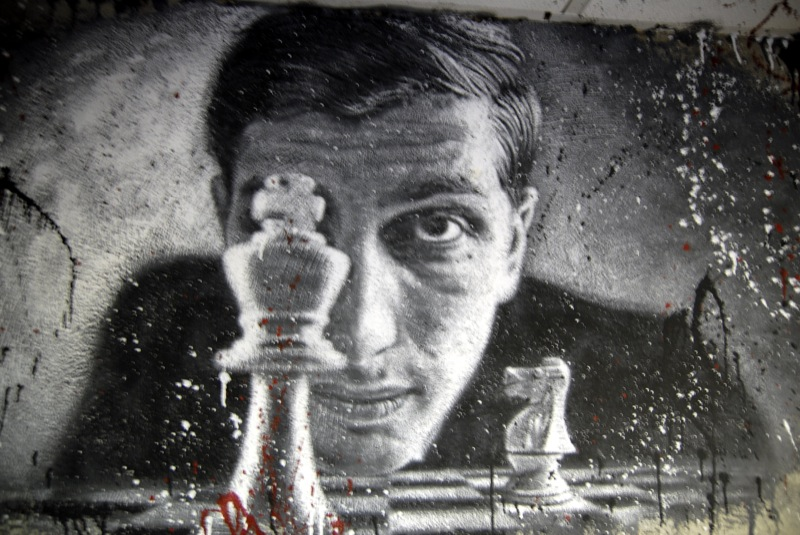 """""""  Bobby Fisher  """"  (2008), painted portrait by  Thierry Ehrmann , courtesy of Flickr's Creative Commons."""