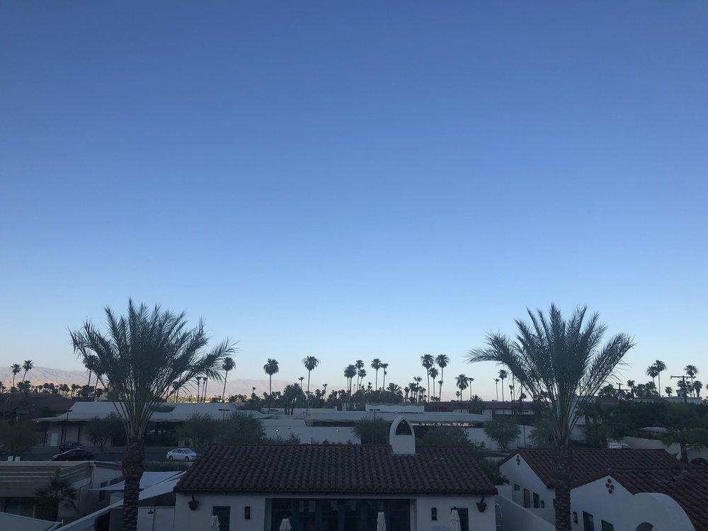 Spanish tiles cool at sunset in the Palm Springs desert.