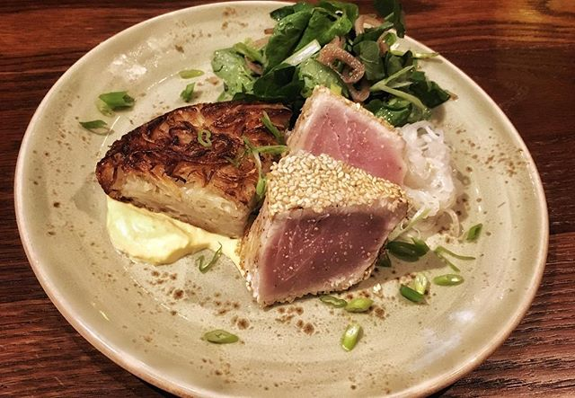 Tonight's special: fresh, sesame crusted Hawaiian Tombo Tuna 🐟