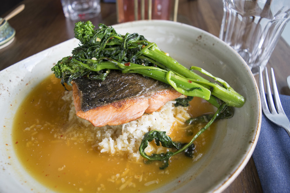 SockeyeSalmon - roasted cauliflower, rapini, carrot broth