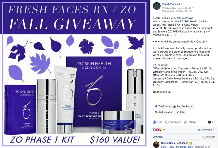 One of the many Facebook contests- For this giveaway, I sourced product from ZO, one of the skincare lines we carry at Fresh Faces RX.