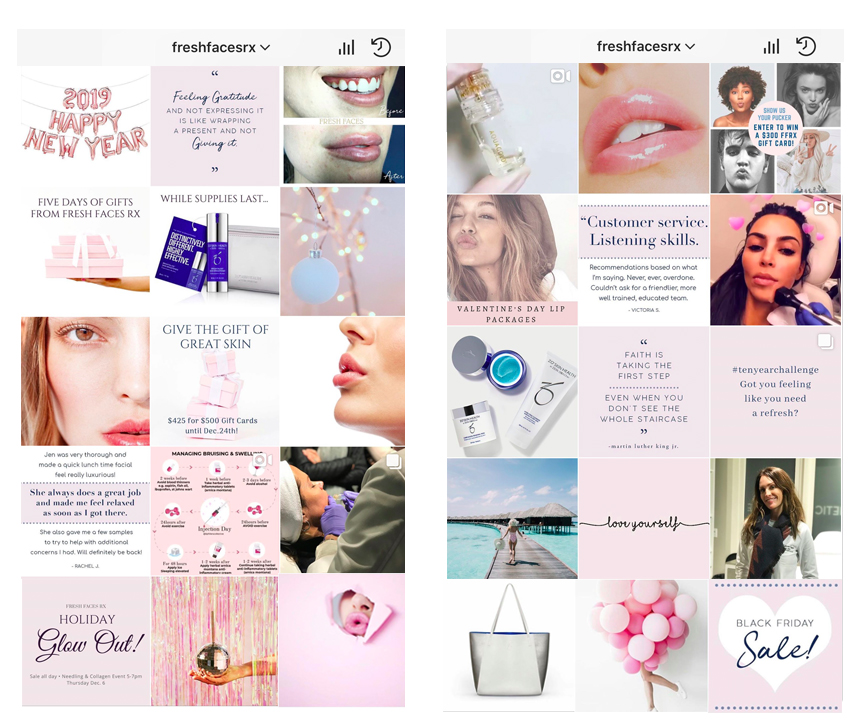 A few screens of the Fresh Faces RX Instagram Account