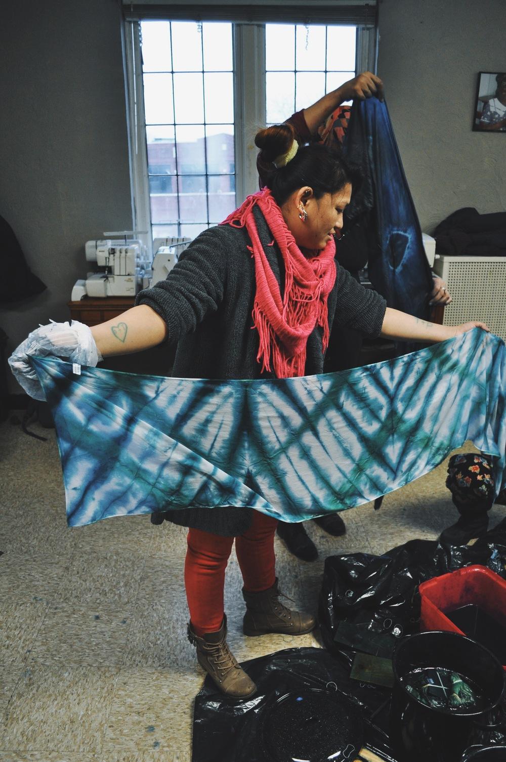 Ganga  unraveling her beautiful hand-dyed indigo silk scarf!