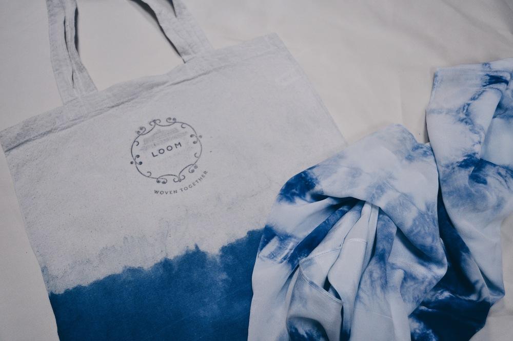 Loom tote & indigo silk scarf
