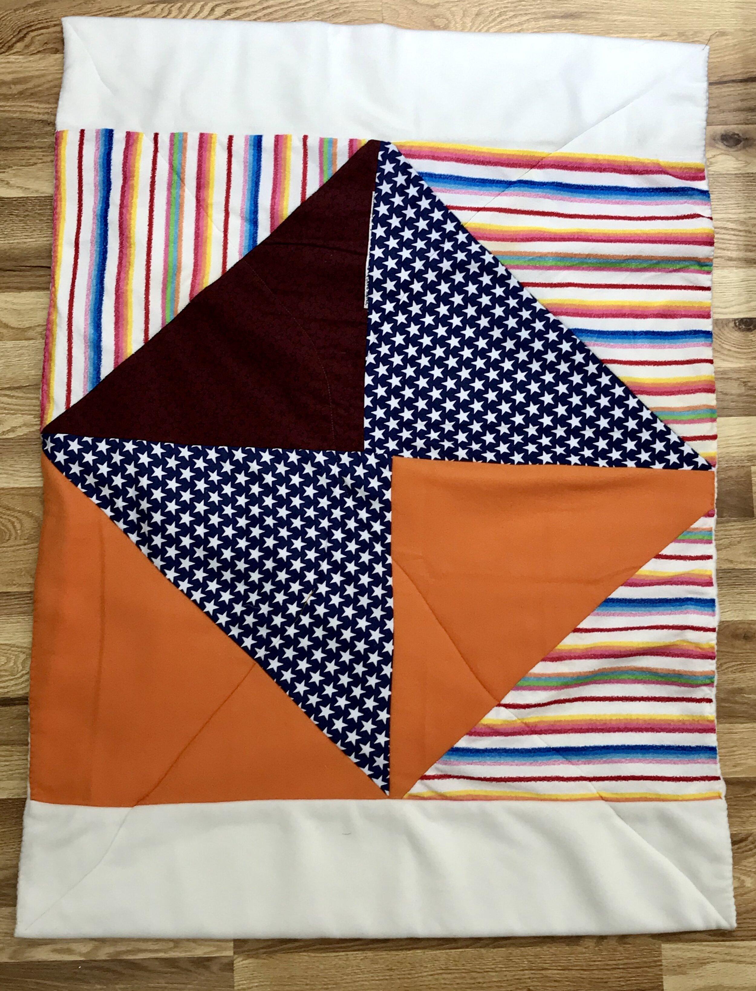 Fleece Patchwork Baby Blanket Orange White With Rainbow Loom
