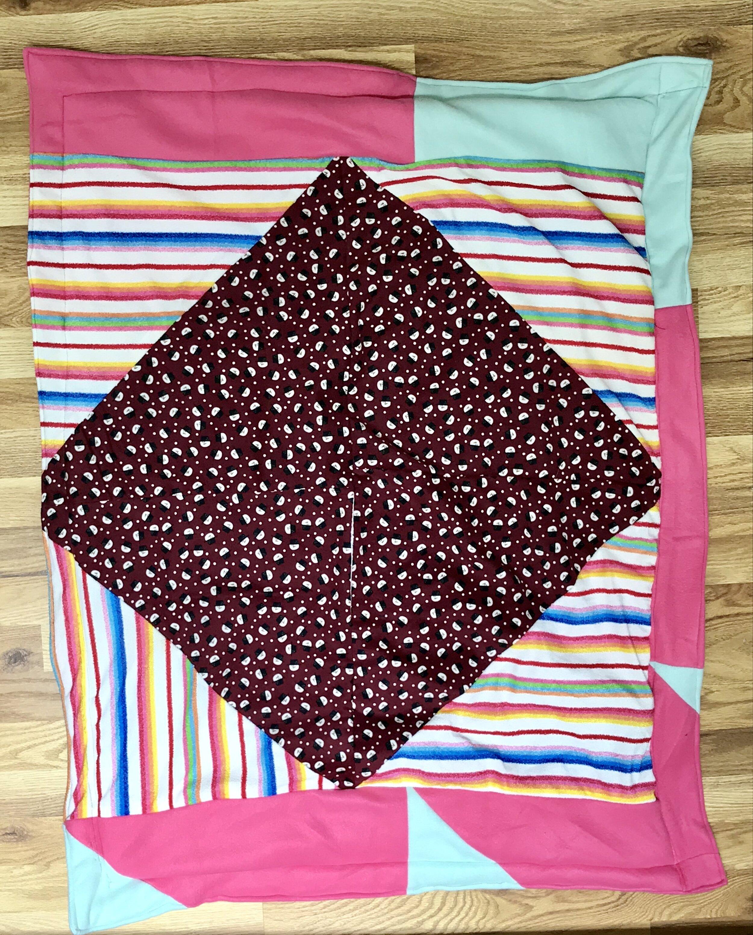Fleece Patchwork Baby Blanket Pink Blue Rainbow And Red Pinwheel Loom
