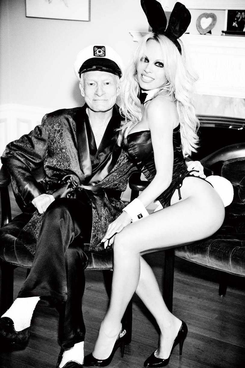Pamela Anderson and Hugh Hefner at the Playboy mansion in October 2015. Ellen von Unwerth/Courtesy of Playboy