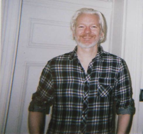 Julian Assange inside Ecuador's UK embassy in 2014. Emily Lembo for Observer