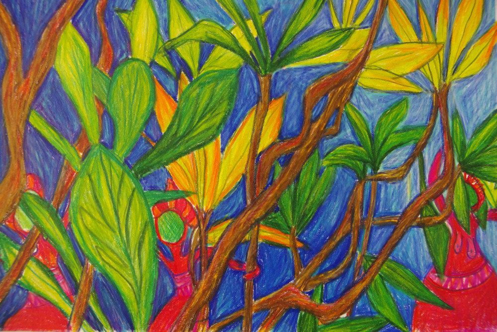 Tahitians in the jungle, Coloured pencil