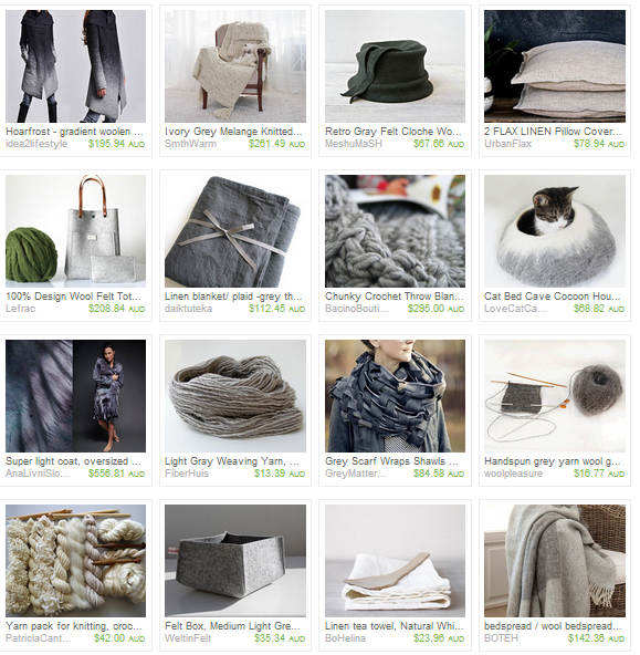 An  Etsy treasury  of woven, knitted, felted, spun, Crochet'd, threaded things in cream and grey