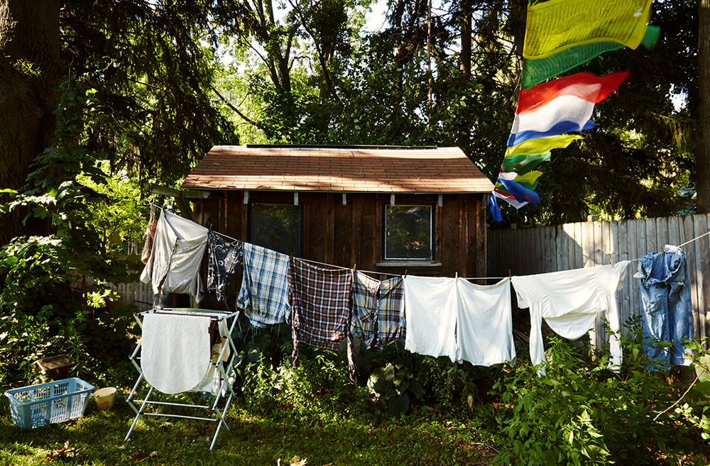 Chopak's laundry and Tibetan Prayer flags benefit from the late summer breeze.