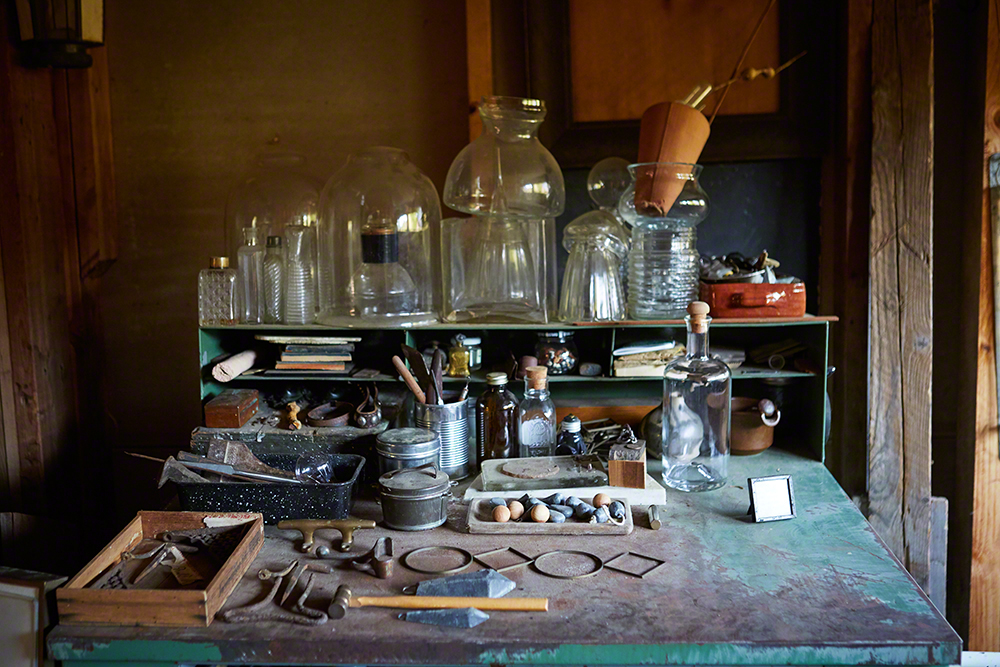 One of several work stations with found objects