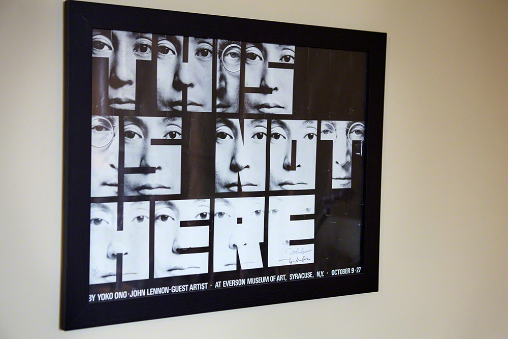 'This Is Not Here' Poster by Fluxus founder George Macuinas in Ross's studio