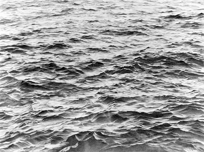 Vija Celmins, Untitled (Big Sea, #2), detail, 1969, Courtesy of Tate Galley.