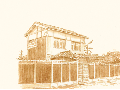 Her tea drawing of her childhood home in Osaka. Courtesy of Kazumi Tanaka