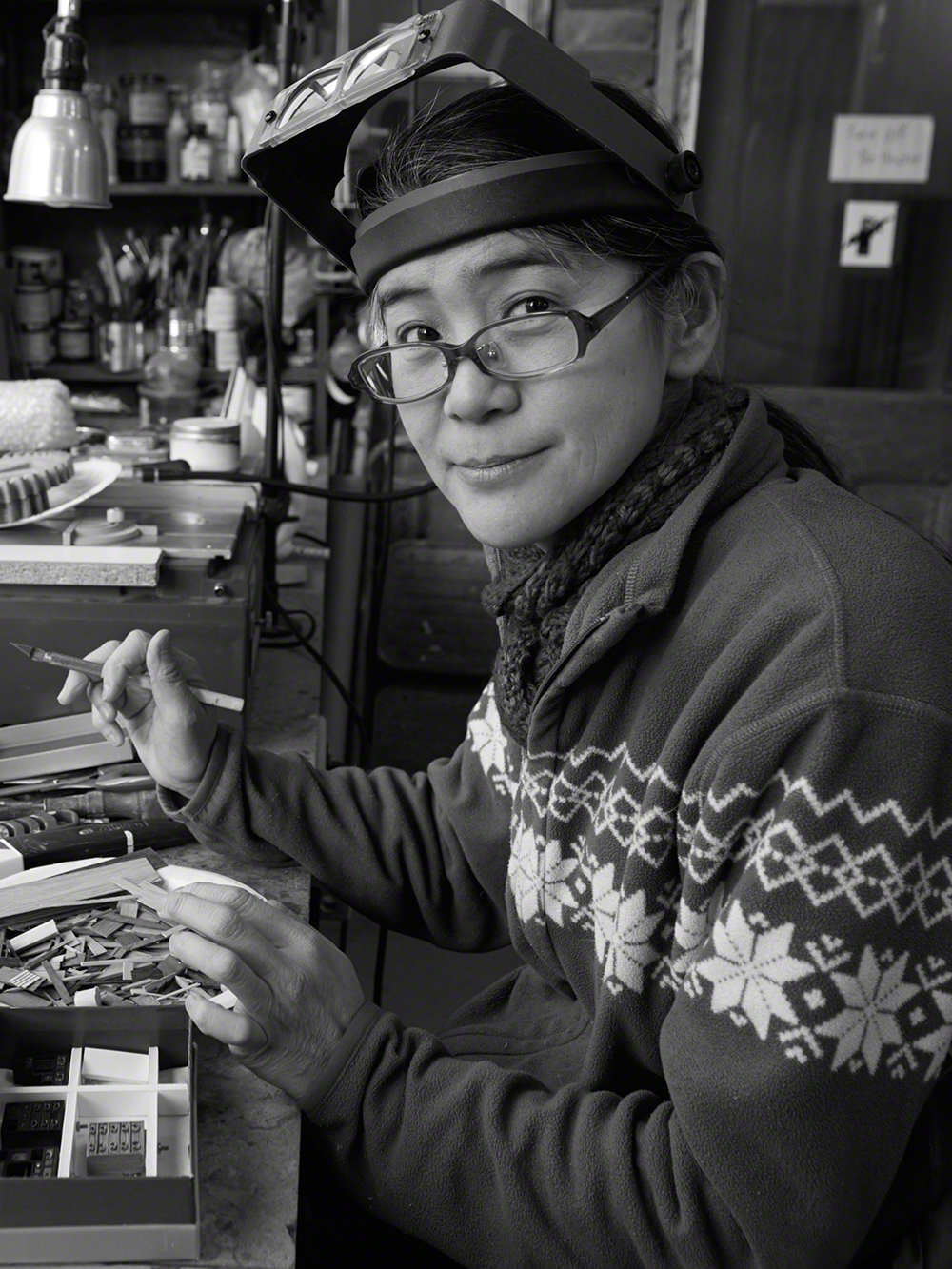 How tiny can one go? Kazumi Tanaka in her studio in Beacon, NY